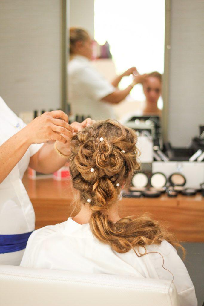 wedding hair trial with hair accessories